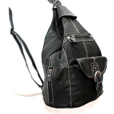 Genuine Leather Medium Black Sling Backpack Organizer