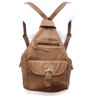 Genuine Leather Tan Brown Sling Backpack Purse Organizer
