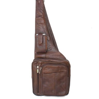Genuine Leather Brown Sling Messenger Backpack Organizer