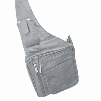 Genuine Leather  Gray Sling Messenger Backpack Organizer