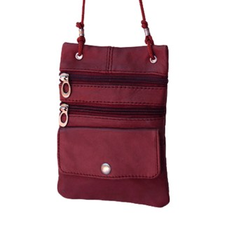 Genuine Wine Lambskin Leather Travel Shoulder Bag