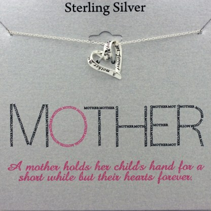 Holiday Gift for Mom Mother Holds Childs Heart Necklace Sterling Silver 925, 18""