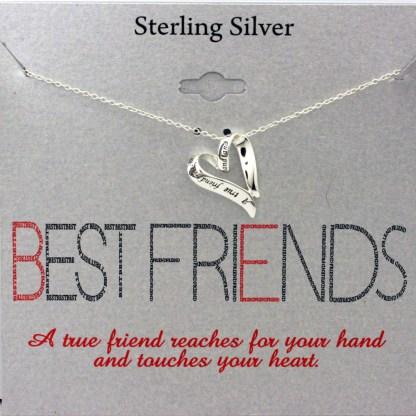 Great Gift True Friend Friendship Sliding Ribbon Heart Charm Silver 925 Friendship Necklace