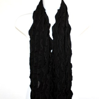 Elegant Ruffled Solid Black Soft Light Shawl Scarf Wrap