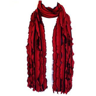 Elegant Ruffled Red Black Soft Light Shawl Scarf Wrap