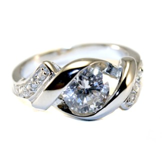 Sterling Silver 925 Invisible Setting Cubic Zircon SZ 6-9 Cocktail Ring Gift Box