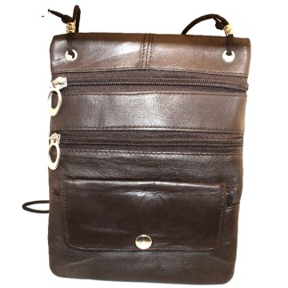 Genuine Dark Brown Lambskin Leather Travel Shoulder Bag