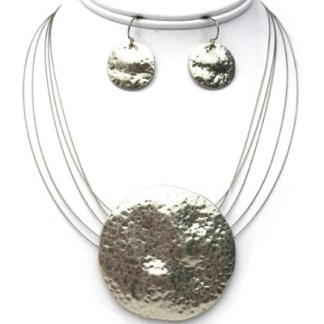 Hammered Matte Silver Shield Pendant 5 Wire Necklace Set