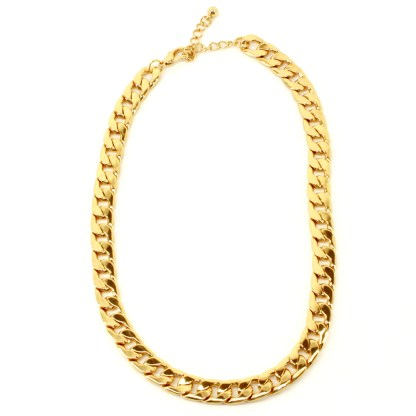 """Chick Trendy Hipster Statement Necklace Chunky Curb Link Cable Chain 18"""" Gold PL"""