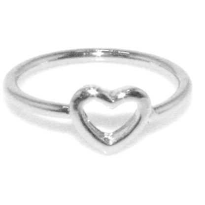 Midi Baby or Toe Ring Above The Knuckle Top Of Finger White Gold Heart Sz3-4