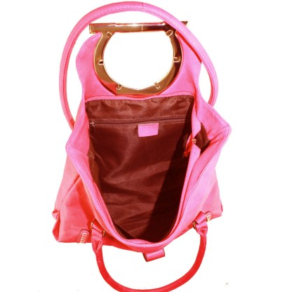 Dual Function Shoulder Tote Handbag Flip Top Round Silver Decor Handle Red