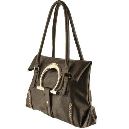 Dual Function Shoulder Tote Handbag Flip Top Round Silver Decor Handle Black