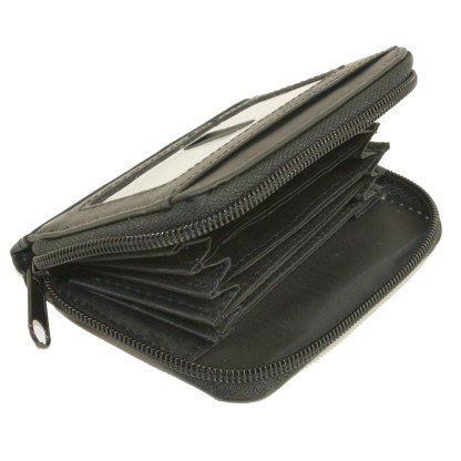 Women's Leather Zippered Wallet ID Credit Card Holder Case Organizer Black