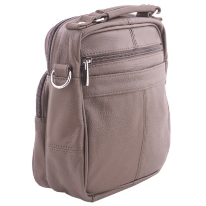 Genuine Leather Light Brown Travel Unisex Organizer Handbag