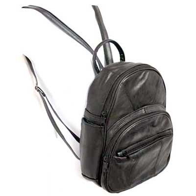 Lambskin Round Zip-Top Backpack Organizer Pockets