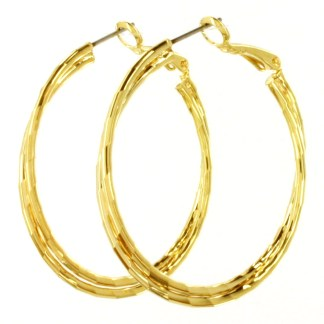 Double Twist Click Hoop Earrings Gold Rhodium Plated Laser Cut Finish 1.5""