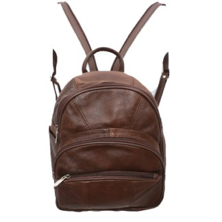 Genuine Leather Round Top Dark Brown Backpack Organizer Bag