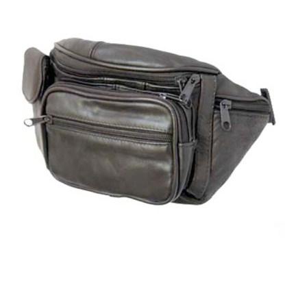 Genuine Leather Black Fanny Pack Waist Bag Phone & Bottle Holder Fits All Sizes