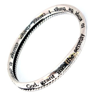 Serenity Prayer Courage Wisdom Silver Plated Infinity Bangle Great Inspirational Gift