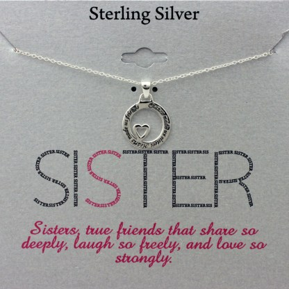 Loving Sisters Friends Circle Heart Sterling Silver Necklace Great Sister Gift