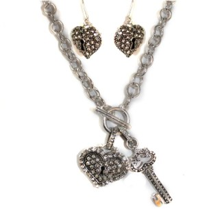 Toggle Chunky Silver CZ Charms Key Heart Set Necklace Earrings