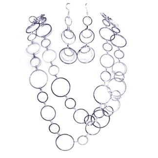 """Extra Long Fancy Graduated Open Links Chain Silver Pl Necklace Earring Set 44"""""""
