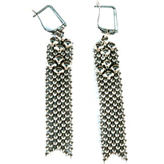 Sergio Gutierrez Liquid Metal Euroclutch Mesh Earrings
