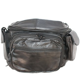 Genuine Lambskin Leather Medium Black Zip Fanny Pack Cellphone Holder Organizer