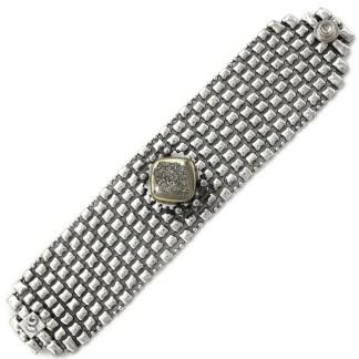 Sergio Gutierrez Liquid Metal Mesh Bracelet Drusy Silver Moon Crystal Center