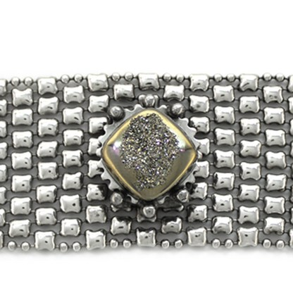 Sergio Gutierrez Liquid Metal Mesh Bracelet Drusy Silver Moon Crystal Center