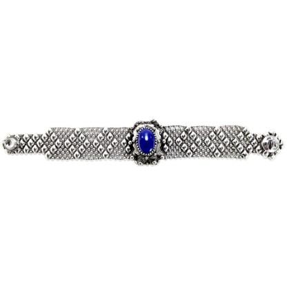 Sergio Gutierrez Liquid Metal Dimnd Mesh Bracelet Oval Genuine Lapis Lazuli Center
