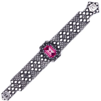 Sergio Gutierrez Liquid Metal Dimnd Mesh Bracelet Radiant Cut Ruby Crystal Center