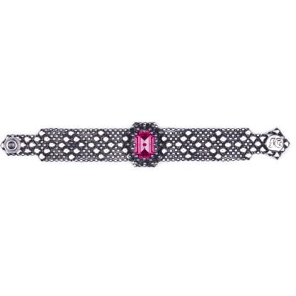 Sergio Gutierrez Liquid Metal Dimnd Mesh Bracelet Radiant Cut Ruby Crystal Center