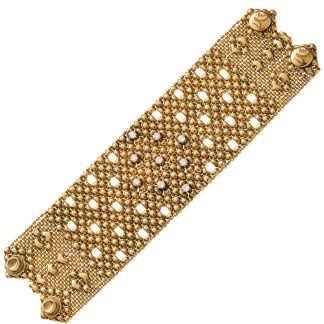 Sergio Gutierrez Liquid Metal Crystal Galaxy Stars Mesh Wide Cuff Bracelet Together Anitque Gold RTB 23