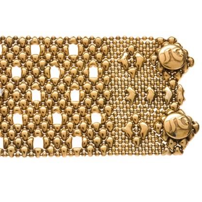 Sergio Gutierrez Liquid Metal Crystal Galaxy Stars Mesh Wide Cuff Bracelet Together Anitque Gold RTB 23