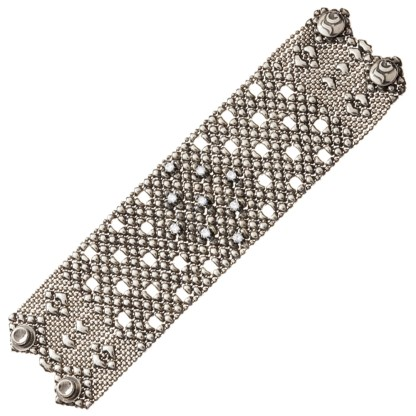 Sergio Gutierrez Liquid Metal Crystal Galaxy Stars Mesh Wide Cuff Bracelet Together Anitque Silver RTB 23