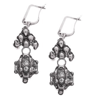 Sergio Gutierrez Liquid Metal Caged Fireball Euro Clasp Drop Antiqued Silver Earrings