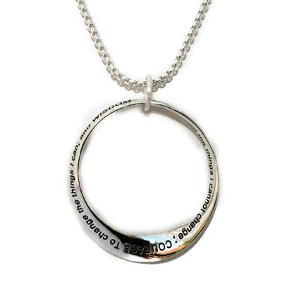 Serenity Prayer Infinity Circle Silver Plated Large Necklace Inspirational Gift