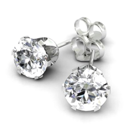 Sterling Silver 2 Ct Round Cut CZ 7 MM Post Earrings Snap Closure Gift Box