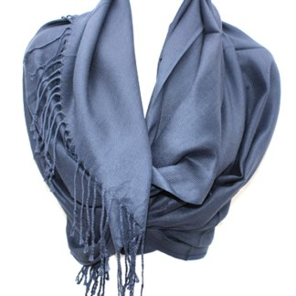 Nepal Solid Navy Blue 2 Ply Pashmina Shawl Scarf Stole