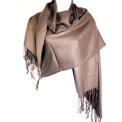 Nepal Solid Cocoa Brown 2 Ply Pashmina Shawl Scarf Stole