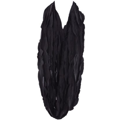 Elegant Ruffled Black Infinity Loop Scarf Wrap