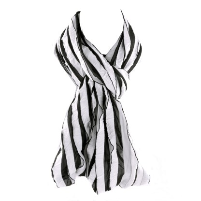Elegant Ruffled White Black Infinity Loop Scarf Wrap