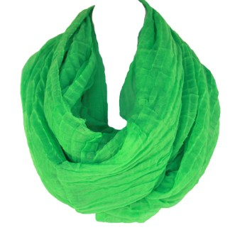 Elegant Pleated Sheer Green Infinity Loop Circle Figure Eight Soft Scarf Wrap