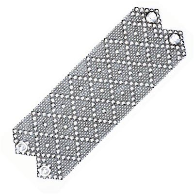 "Sergio Gutierrez Liquid Metal Extra Wide 2.75"" Diamond Pattern Cuff Bracelet fits 6.5-6.75"" wrist"
