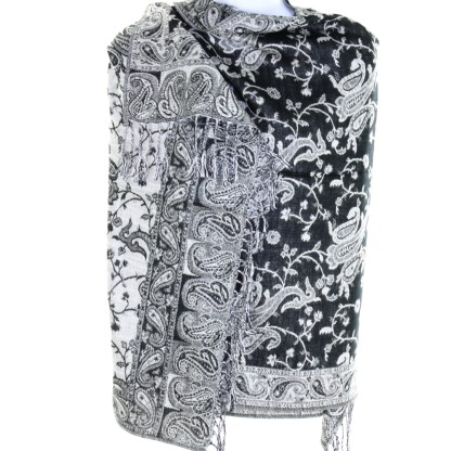 Silver Fever Pashmina - Jacquard Paisley Shawl - Stylish Scarf - Double Sided Wrap Black White