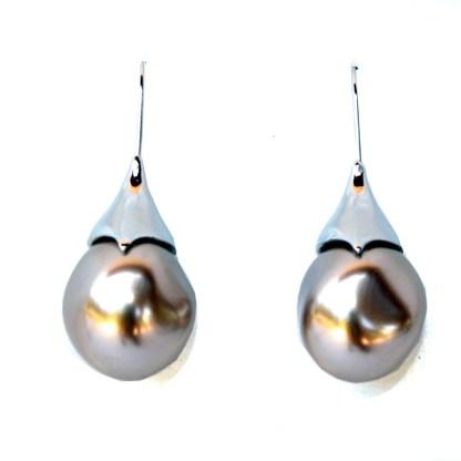 Sculptured Teardrop Large Brown Pearl Silver Earring