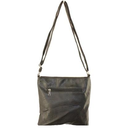 Zippered Crystal & Metal Studded Coffee Crossbody Messenger Bag