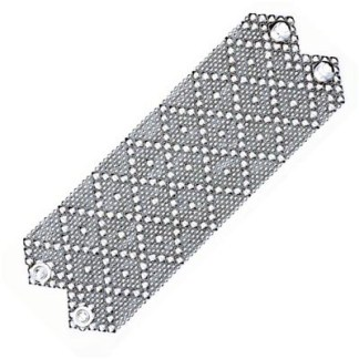"Sergio Gutierrez Liquid Metal Extra Wide 2.75"" Diamond Pattern Cuff Bracelet"