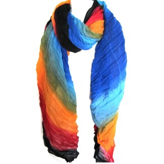 Digital Print Pleated Ombre Sheer Elegant Scarf Shawl Wrap Black Orange Blue Mix